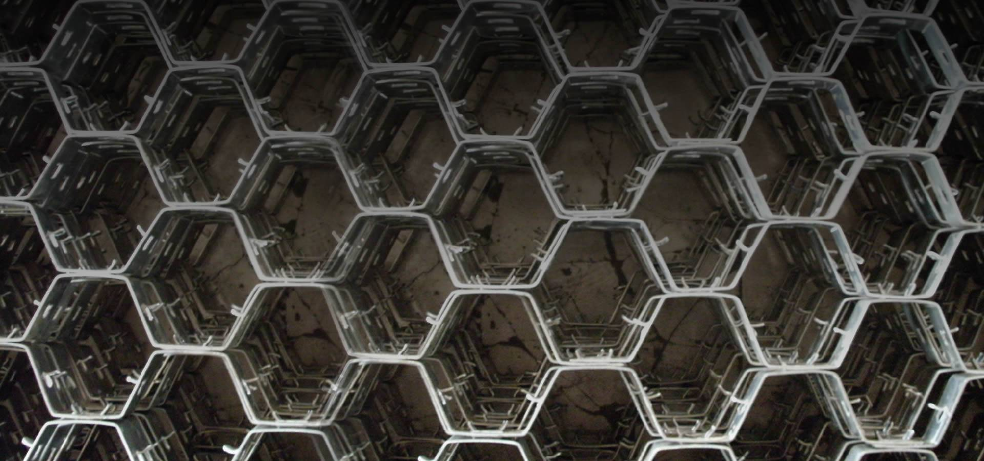 The picture shows metal hex grid.